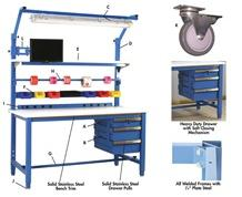 5,000 LB. CAPACITY KENNEDY SERIES WORKBENCHES - WITH STAINLESS STEEL TOP